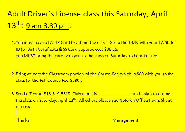 Adult Class Sat, April 13, 2019